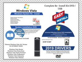 Windows Vista 32 64 bit Reinstall Install DVD Home Premium + 2019 Driver... - $7.48