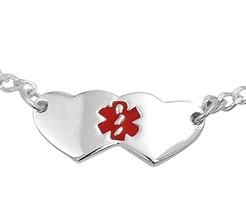 Argent Sterling 20mm Double Coeur Enfants Bracelet Alerte Médicale Ajust... - $20.25