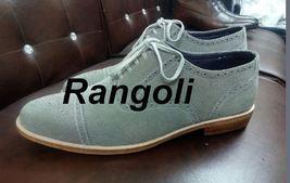 Handmade Men Brogue Gray Color Shoes, Men Gray Suede Formal Shoes, Men Shoes - $159.99