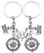 O.RIYA Best Friends No Matter Where Compass Keychain Set Heart , Best Fr... - $33.51
