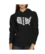I Love USA Map Unisex Black Hoodie Cute USA Letter Printing Design - $25.99+