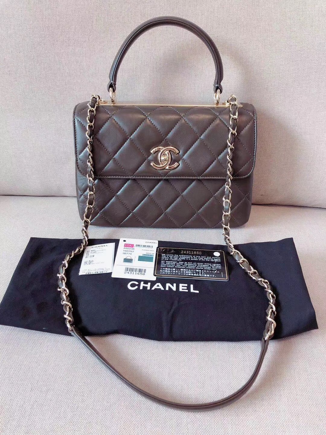 AUTHENTIC CHANEL QUILTED LAMBSKIN TRENDY CC 2 WAY HANDLE FLAP BAG GHW