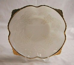 """Vintage Milk Glass by Anchor Hocking 8-1/2"""" Square Bowl Grapes Gold Trim... - $29.69"""