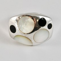 Silver Ring 925 Rhodium to Fscia with Nacre White and Enamel Black image 2
