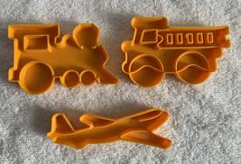 3 LK MFG CO Cookie Cutters Plastic Airplane Train Firetruck  - $18.76