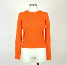 Ralph Lauren Orange Cashmere Cable Knit Sweater Slim Fit Top Crew Neck W... - $38.60