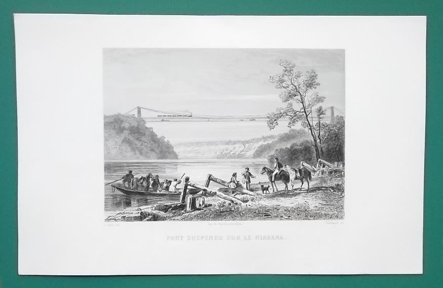 NIAGARA RIVER Suspension Railway Bridge - CIVIL WAR Era Print