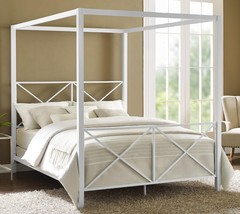 Full Queen White Metal Canopy Bed Frame Criss Cross Headboard Footboard ... - $363.23+