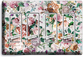 Victorian Floral Pattern Roses Peonies 4 Gfci Light Switch Wall Plate Room Decor - $19.79