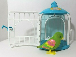 Little Live Pets Talking Bird Green Pink Parakeet w/ Blue & White Cage S... - $19.57