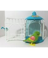 Little Live Pets Talking Bird Green Pink Parakeet w/ Blue & White Cage S... - $19.57