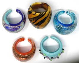 LOT OF 5 ANTICA MURRINA VENEZIA RINGS, MURANO GLASS, SIZE 6 image 2
