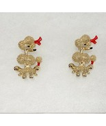 Vintage Pair Sitting Poodle Scatter Pins Figural Dog Brooch Gold Tone 1118m - $12.86