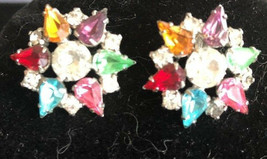 Vintage 1950's Rhinestone Astra Clip On Earrings Multi Color Crystal Jew... - $19.57
