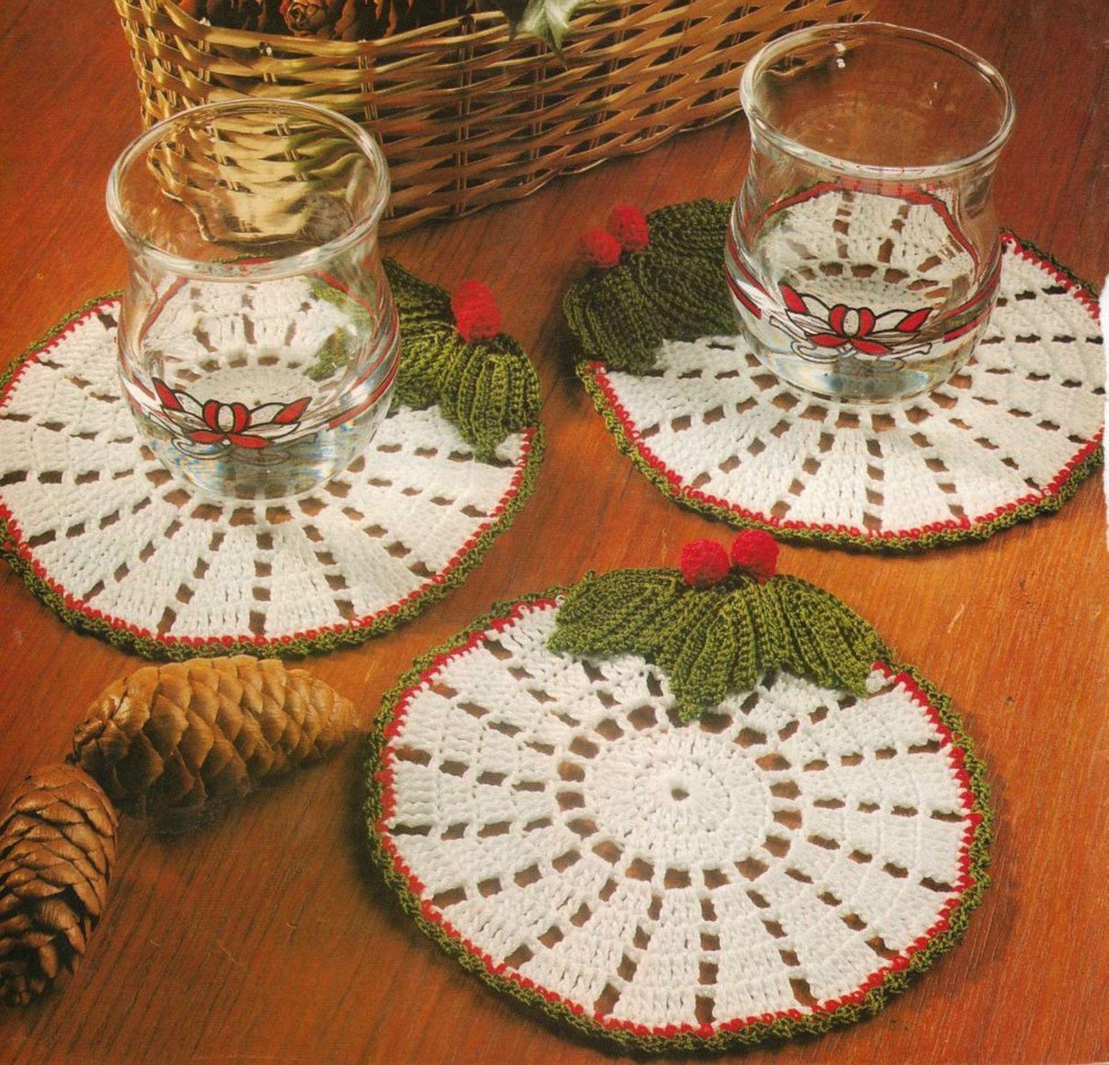 Eye-catching Christmas HOLLY COASTERS Crochet Pattern