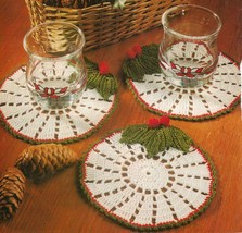 Eye-catching Christmas HOLLY COASTERS Crochet Pattern - $5.50