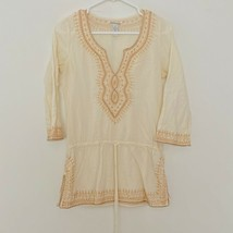 Lucky Brand XS Embroidered V Neck Tunic 3/4 Sleeve Cream Gold - $19.16
