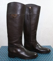 Tory Burch Joanna Riding Tall Boots Size 7.5 Coconut Brown Tumbled Leath... - $296.99