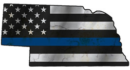 Thin Blue Line Police State of  Nebraska Laser CutOut Metal Sign 17Wx9H - $25.74