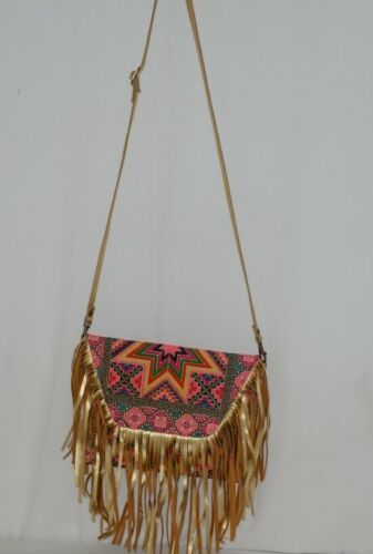 Unbranded Small Geometric Print Purse Gold Colored Fringe
