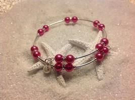 Pretty Handmade! *Deep Pink* Pearl Bead Wire Wrap Silver Tone Bracelet ... - $10.95
