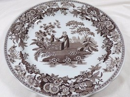Spode Georgian Series Archive Collection Girl at Well Brown White dinner plate - $41.18