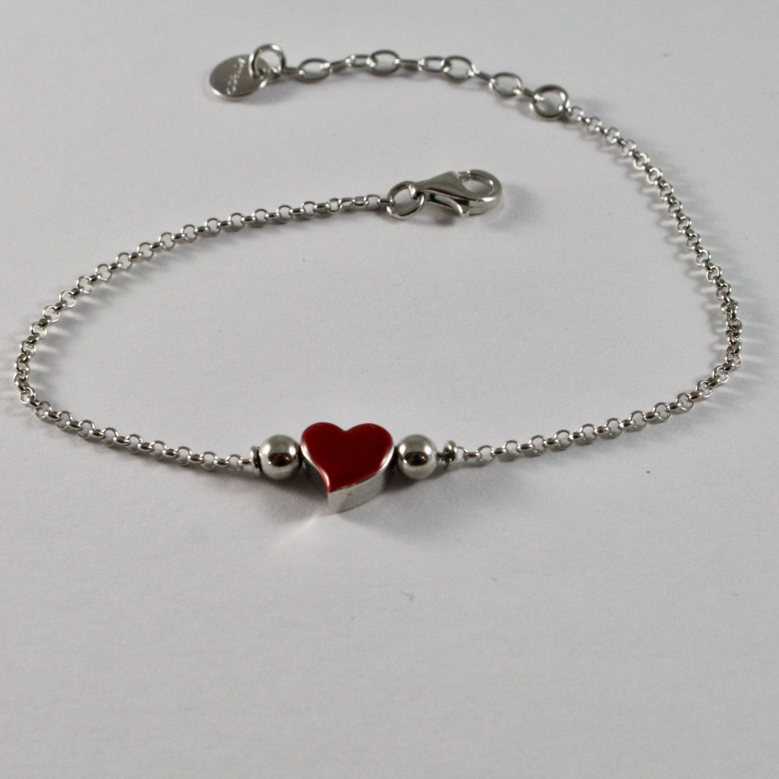 SILVER 925 BRACELET JACK&CO HEART RED STYLIZED ENAMELLED LOVE JCB0907
