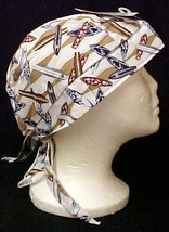 Chemo Head Cover Hat Cancer Surfing Print Durag Cotton USA One Size Bike... - $15.65
