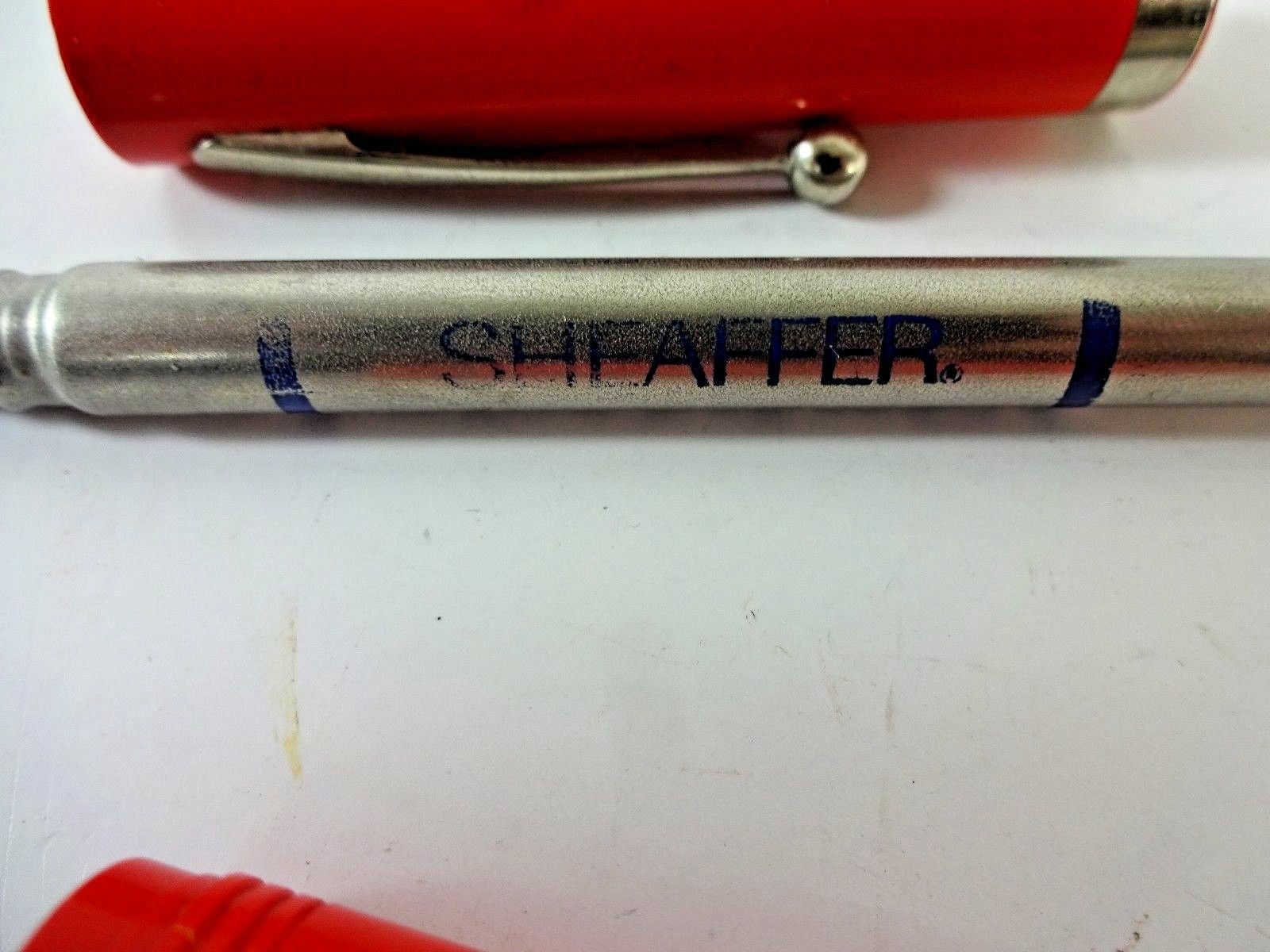VTG Sheaffer No-Nonsense Rolling Ball Pen - Refillable - Red w/ Chrome Clip