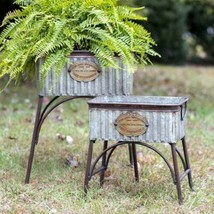 """Country SET OF TWO """"POLAND"""" TUBS With STANDS Farmhouse Rustic Primitive ... - $132.99"""