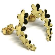 Ohrringe Anhänger Gelbgold 18K, Reihe von Blumen, Gänseblümchen, Gold 750, Kurve image 2