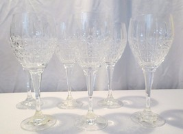 6 Mikasa Ashbourne Czech Cut Crystal Wine or water goblet Glasses - $75.00