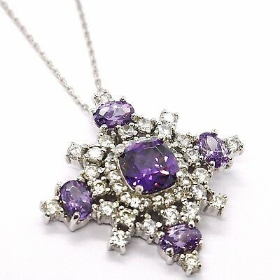 Silver 925 Necklace, Chain Rolo ' , Pendant Snowflake, Zircon Purple White