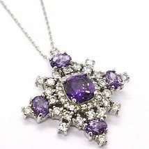 Silver 925 Necklace, Chain Rolo ' , Pendant Snowflake, Zircon Purple White - $81.93