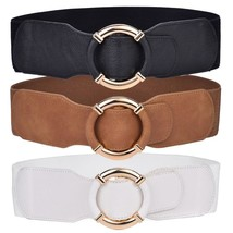 Women's Elastic Stretch Wide Waist Belts Wrapped Gold Circle Buckle - $25.95