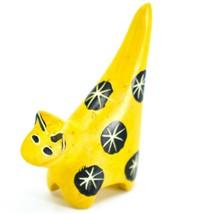 Tabaka Chigware Hand Carved Kisii Soapstone Tiny Miniature Yellow Cat Figurine