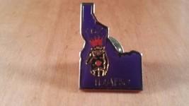 Masonic Lapel Pin Royal Order of Jesters Idaho 62 Purple State Shape - $12.86