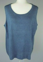 Talbots Linen Knit Top 2X Womens Blue Sleeveless Sweater Shell Tank Pull... - $19.79