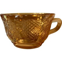Normandie Bouquet and Lattice, Federal Glass, Iridescent Cup carnival de... - $9.99