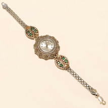 Natutral White Topaz Emerald Wrist Watch 925 Sterling Silver Turkish Jew... - $41.37