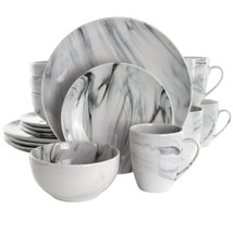 Elama Fine Marble 16 Piece Stoneware Dinnerware Set in Black and White - $62.02