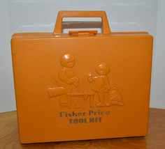 VINTAGE FISHER PRICE TOOL KIT WITH WIND UP DRILL 1977 CASE PRETEND TOYS - $15.86