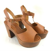 Top Moda Womens Platform Heels Peep Toe Faux Leather Ankle Strap Brown S... - $24.18