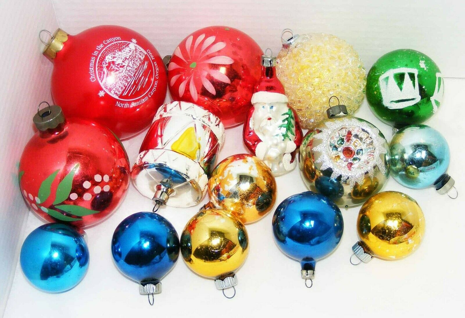 Primary image for Lot of 15 Vintage Glass Christmas Ornaments
