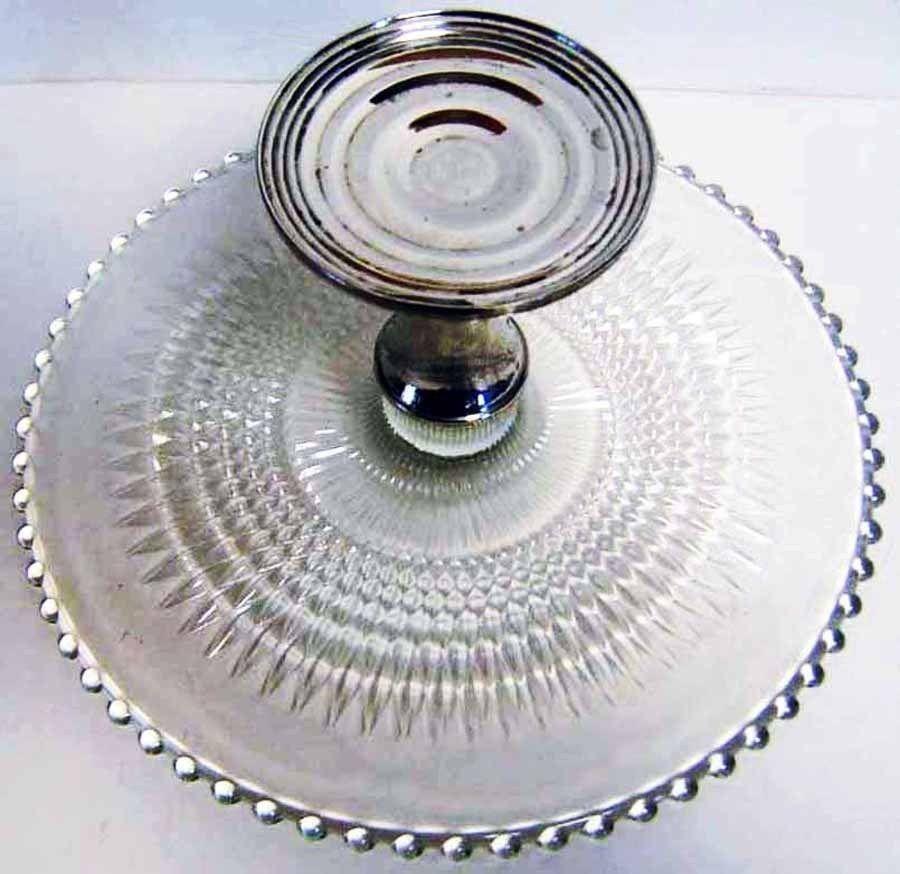 Imperial Candlewick Pedestal Cake Plate Shrewsberry Silver Base