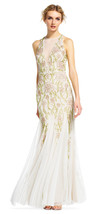 Adrianna Papell Ivory/Multi Floral Beaded Halter Dress With Godet Skirt 12  $329 - $256.41