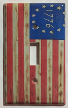 Betsy Ross star 1776 US Flag Wooden Light Switch Duplex Outlet wall Cover Plate