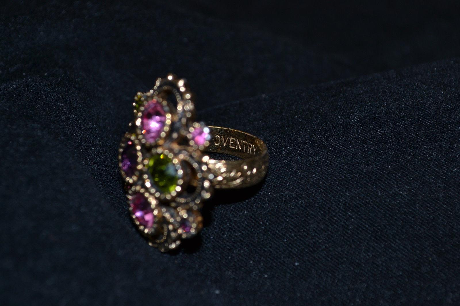 Vintage Gold Tone Rhinestone Cocktail Ring Sarah Coventry Retro Adjustable