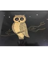 Couroc Monterey Owl Wood Inlay Black Serving Tray 18x 12 Mid Century Mod... - $82.32