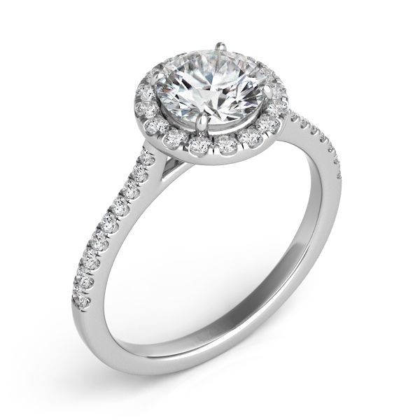1.25 Carat GIA Certified Solitaire Halo Style Engagement Ring in 14K White Gold